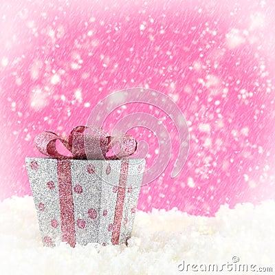 Present box with snow
