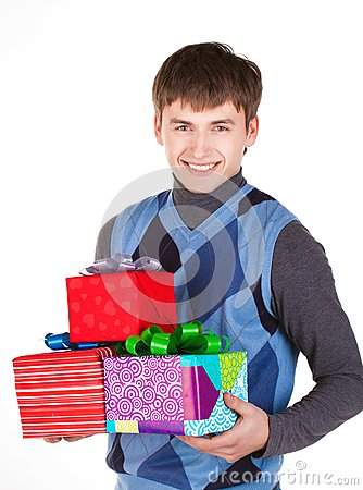 Present gift holding man looking camera