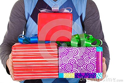Present gifts in men s hands