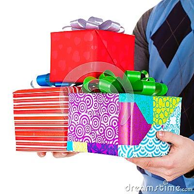 Present gifts in men s hands