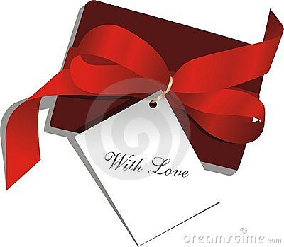 Present,red ribbon,card