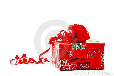 Present with Red Wrapping and Bow