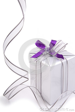 Present with silver ribbon