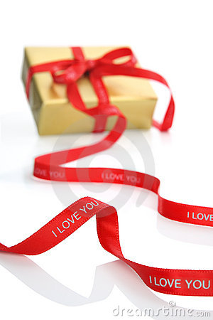 Present with Valentine s ribbon