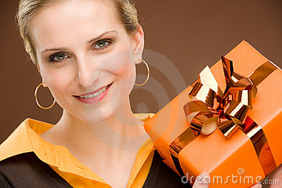 Present woman celebration hold happy