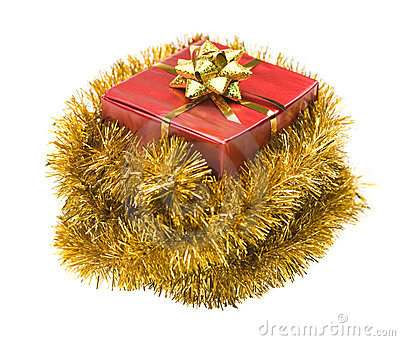 Present wrapped in tinsel