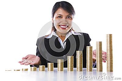 Presentación de crecimiento de beneficio de la inversión