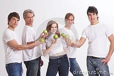 Presentating green apples