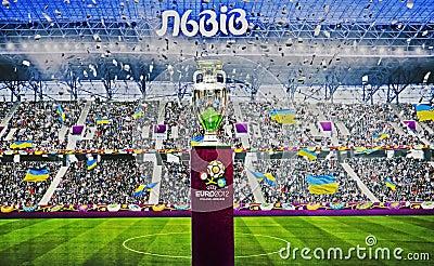 Presentation of European Cup  Euro-2012  in Lviv Editorial Photography