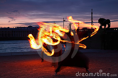 Presentation with fiery light painting streaks