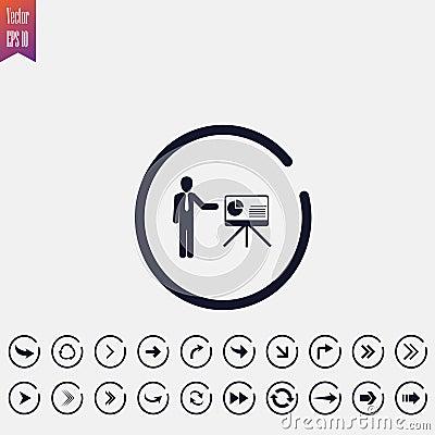 presentation icon, vector illustration. flat icon. arrow Cartoon Illustration