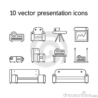 Stock Illustration Presentation Icons Projector Comfortable Seats Office Work Set Board Bollard Multimedia Sessions Modern Style Image60447907