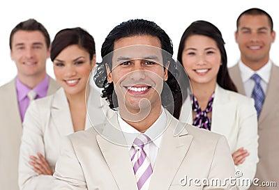 Presentation of a joyful business team