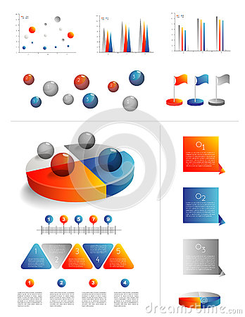 Presentation template for infographics with pie ch