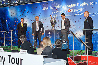 Presentation UEFA Champions League trophy Editorial Stock Image