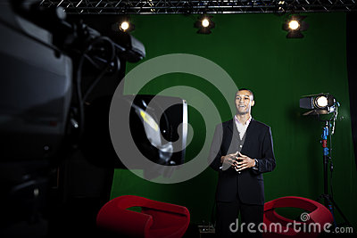 Presenter in TV Studio