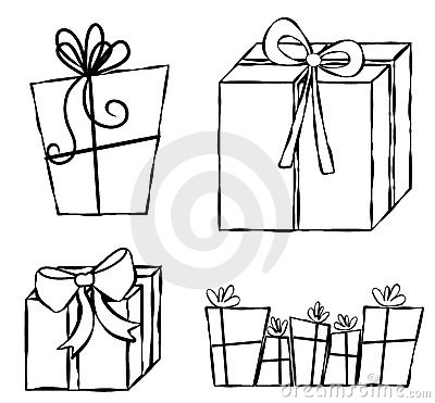 Presents Gifts Line Art