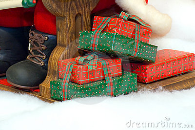 Presents at Santa s feet