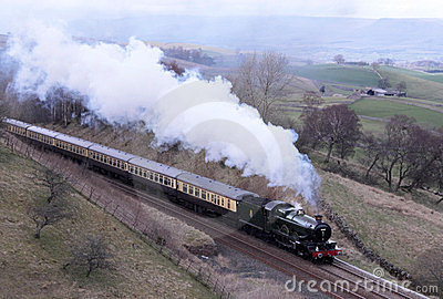 Preserved steam engine on Settle to Carlisle line. Editorial Stock Image
