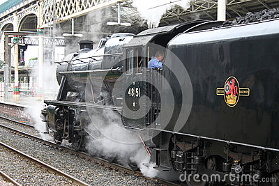 Preserved steam locomotive at Preston station Editorial Stock Image