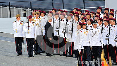 President Dr Tony Tan inspecting guard-of-honor Editorial Photo