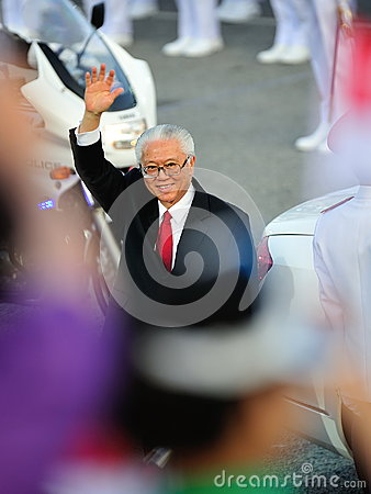 President Dr Tony Tan waving during NDP 2012 Editorial Stock Photo