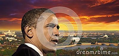 President Obama Redaktionell Arkivfoto