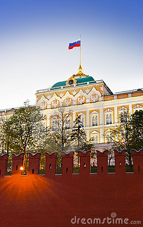 President palace in Kremlin, Moscow at sunset