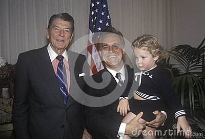 President Ronald Reagan and an admirer Editorial Stock Image