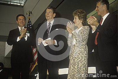 President Ronald Reagan  and  Mrs. Reagan Editorial Photography