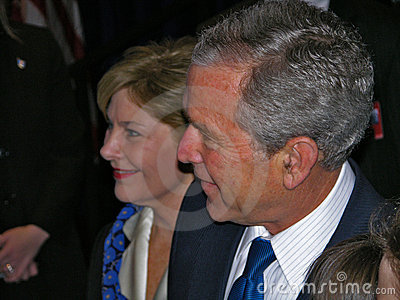 Presidente George W. Bush y señora Laura Bush Imagen de archivo editorial