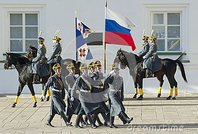Presidential guards with flags Editorial Photography