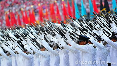 Presidential gun salute during NDP 2010 Editorial Photography