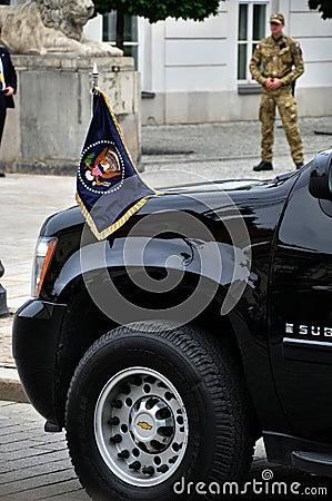 Presidential motorcade transporting U.S. President Editorial Stock Photo