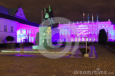 Presidential Palace at night. Warsaw.Poland Editorial Stock Image