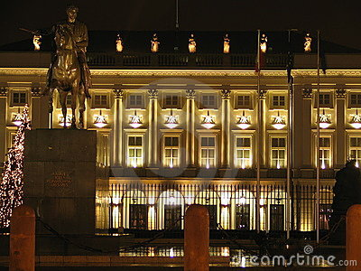 Presidential Palace in Warsaw (Poland) by night