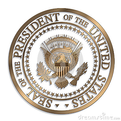 Free Presidential Seal - Gold Against White AI Stock Photo - 98391410