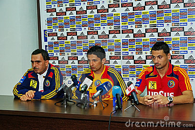 Press conference for Romanian football team Editorial Stock Image
