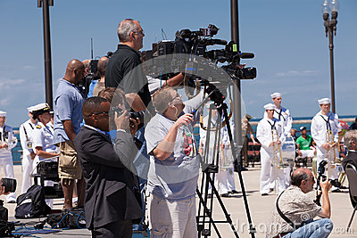 Press at USS Illinois Naming Ceremony Editorial Image