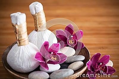 Pressar växt- massage samman