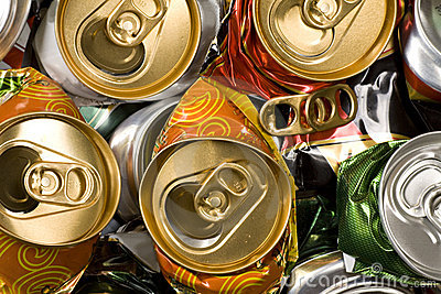 Pressed beer cans. Recycle