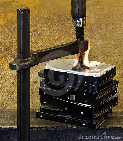 Pressed hard drives with clamp and fire
