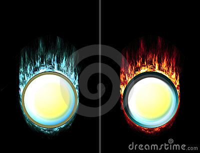 Pressed and unpressed fire ice button