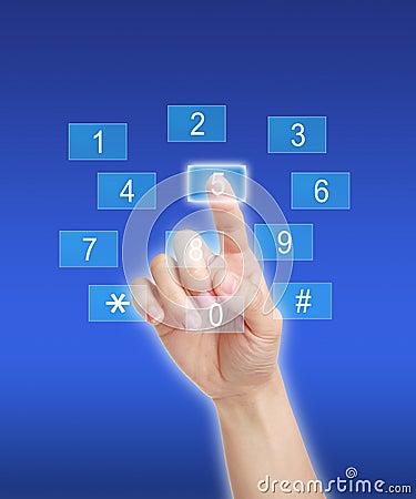 Pressing number key pad