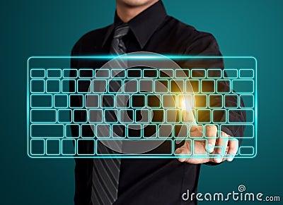 Pressionando o tipo virtual de teclado