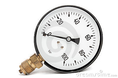 Pressure Gauge  On White