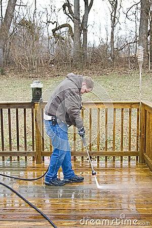 Pressure washing deck