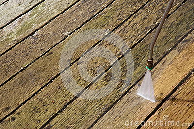 Pressure Washing Outdoor Wooden Deck Stock Photo - Image: 26019100