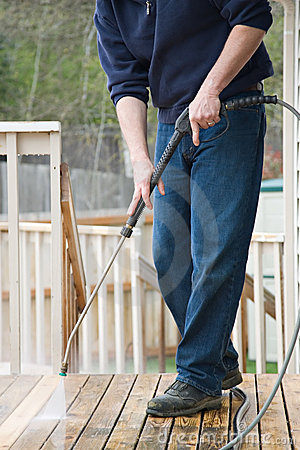 Free Pressure Washing The Deck Royalty Free Stock Image - 4991706