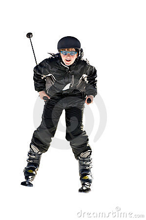 Preteen Boy Snow Skiing